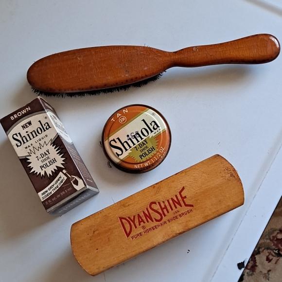 Vintage Shinola Shoe Polish and Brushes
